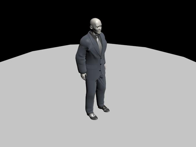 Human Character Model: MAN IN BLACK SUIT/BODYGUARD 3D ...