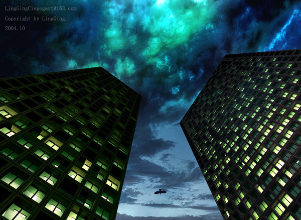 Night Sight Between Skyscrapers Exterior 3d Model Download