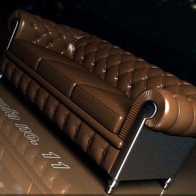 Furniture Model Brown Leather Sofa 3Ds Max Model 3D