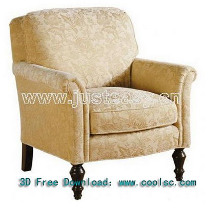 Neoclassical sofa 3D Model of Yellow honor (including materials)