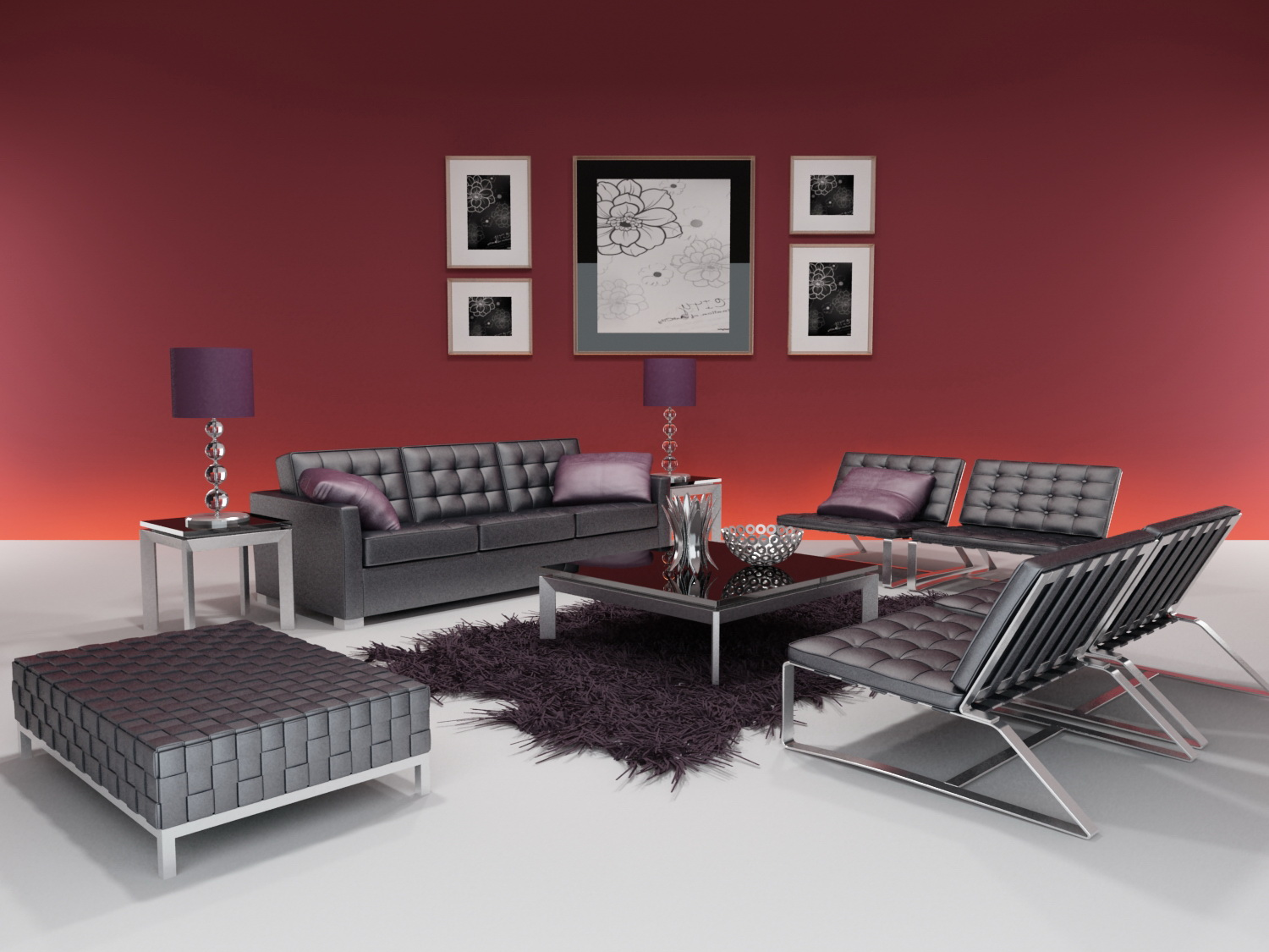 3d model of the whole furniture of modern style including materials 3d model download free 3d - Modern eetkamer model ...