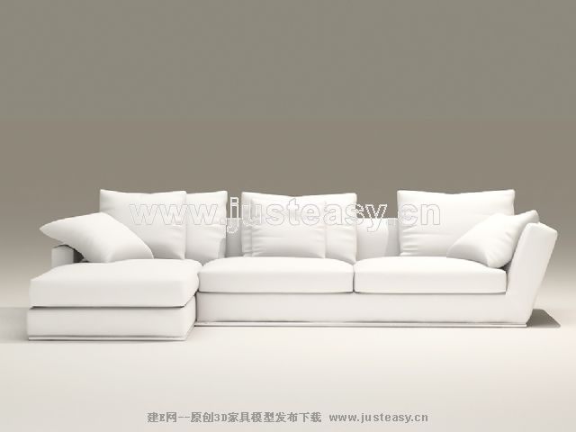 European style combination of white and elegant sofa 3d for Sofa 3d model