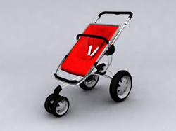 Big red three-wheeled push baby carriages