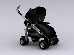 Black four round dismantable baby carriage