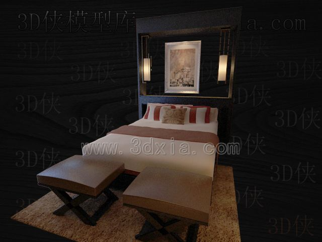 Double beds with lamps 3D models-15