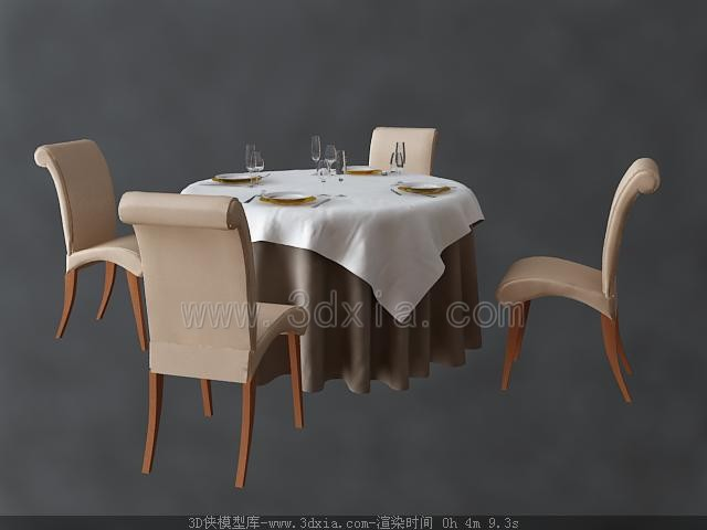 Dining table and chairs Combination 3D Model DownloadFree  : canzhuo1 from www.3dmodelfree.com size 640 x 480 jpeg 29kB