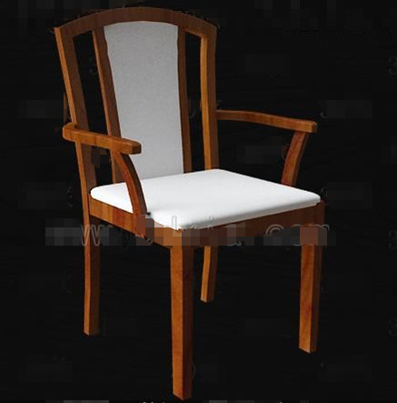 white fabric cushion wooden chairs 3d model download free