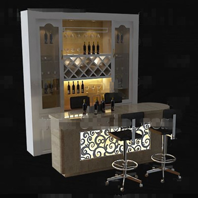 White With Counter Wine Cabinet 3d Model Download Free 3d
