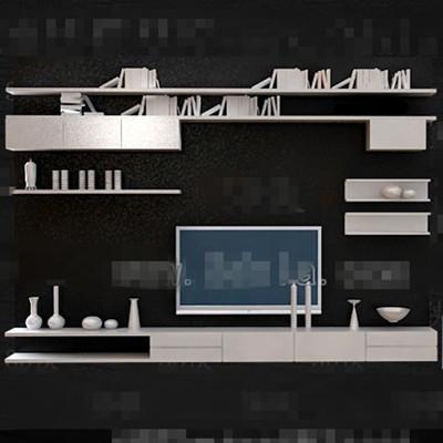 White Personality Bookshelf Tv Wall 3d Model Download Free