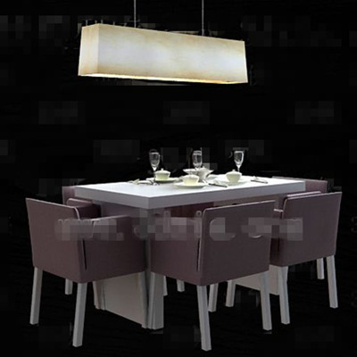 Light Purple Cozy Dining Table Combination 3d Model