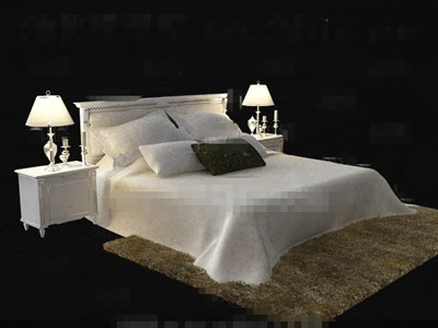 White Comfortable Double Bed 3d Model 3d Model Download