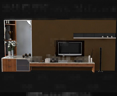 Modern Wooden Brown Yellow Tv Cabinet 3d Model Download