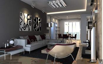 Modern distinctive colors living room 3d model download for Modele de salon pour maison
