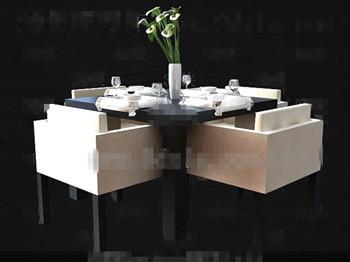 Modern stylish square dining table combination 3d model for Mesas de comedor cuadradas modernas