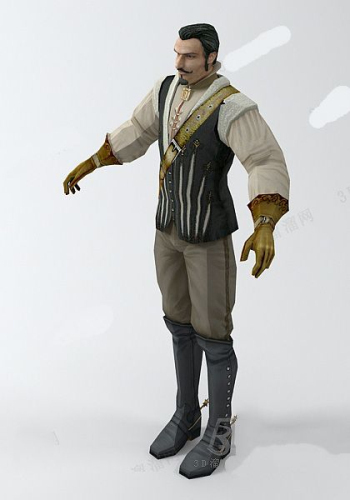 Europe and the United States aristocratic male 3d model